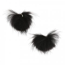Black Faux Fur Ball Charm with Ring 25mm Pack of 2