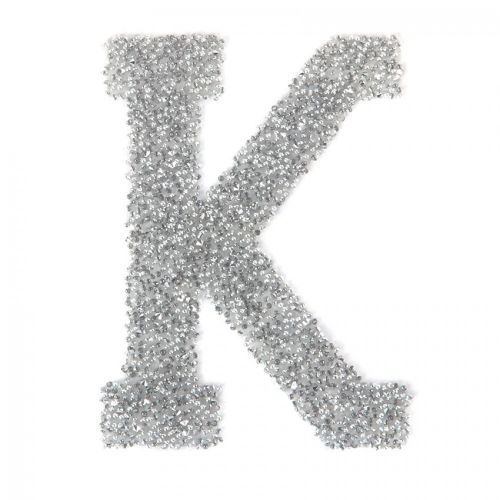 Swarovski Crystal Letter 'K' Self-Adhesive Fabric-It Transparent CAL Pk1