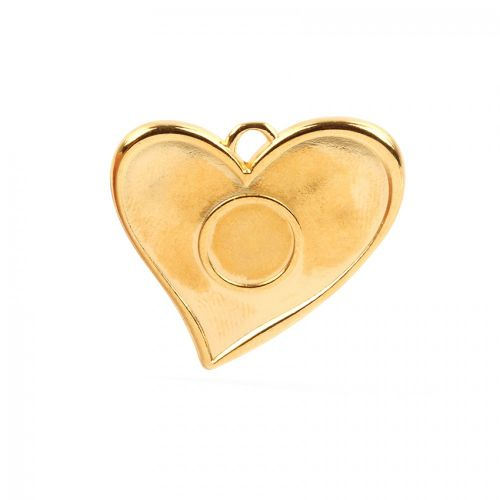 Gold Plated Large Heart Charm 12mm Centre 41x40mm Pk1