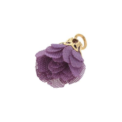 Tulle flower / with openwork tip / 18mm / Gold Plated / purple / 4 pcs