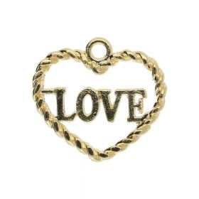 Heart LOVE / charm pendant / 14x16x1.5mm / gold plated / 2pcs