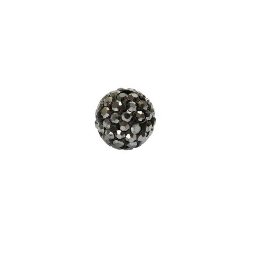 Gunmetal Crystal Premium Shamballa Fashion 10mm Round Pk1