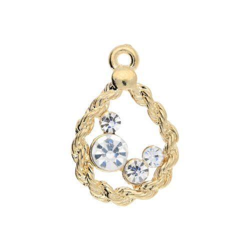 Glamm ™ Flower / charm pendant / with zircons / 23x15.5x3mm / gold plated / 1pcs