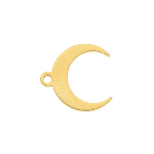 Moon / charm / surgical steel / 11x11mm / gold / 2pcs