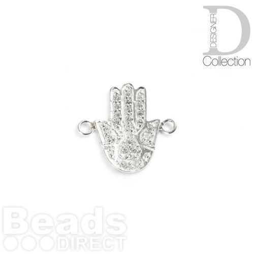 Sterling Silver 925 Hand Connector Charm with Clear Crystals 12x17mm Pk1