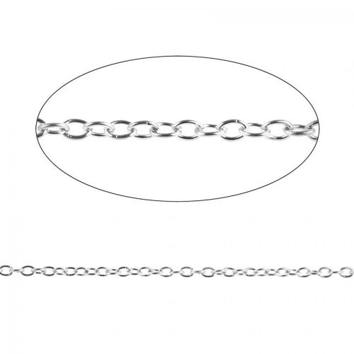 X Silver Plated Trace Chain 2.5x3.5mm Pre Cut 1 Metre Length