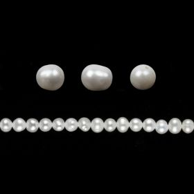 White Freshwater Pearl Beads Irregular Round 5-6mm Pk10