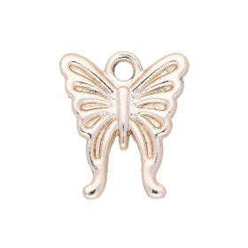 Butterfly / charm pendant / 16.5x14x2mm / rose gold / 4pcs