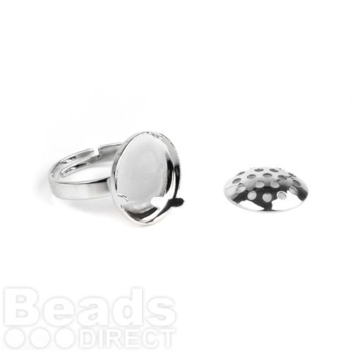 Silver Plated Small Sieve Disk and Adjustable Ring Base 15mm Pk1