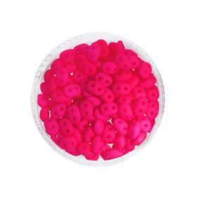 SuperDuo™ / glass beads / 2.5x5mm / Neon / Pink / 10g / ~140pcs