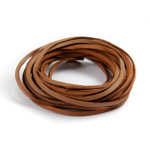 X Double Sided Leather/Suede 3mm Flat Cord Medium Brown 5m