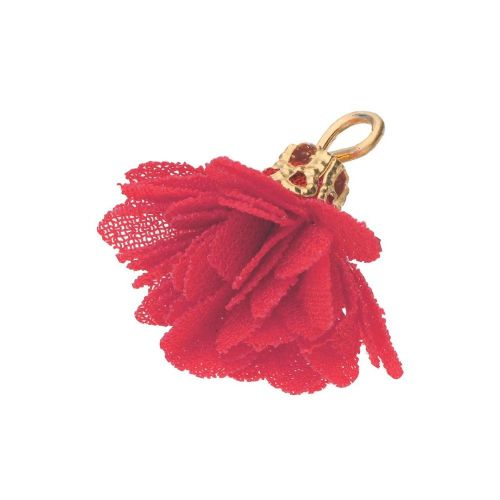 Tulle flower / with openwork tip / 18mm / Gold Plated / red / 4 pcs