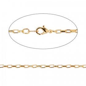 Gold Plated Rectangle Link Chain with Clasp 46cm