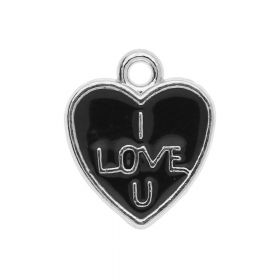 SweetCharm ™ Heart - I love You / charm pendant / 11.5x10x1mm / silver-black / 4pcs