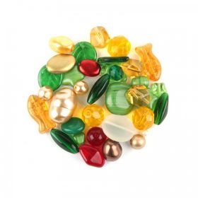 Preciosa Czech Glass Bead Mix Green & Yellow Tones 50g