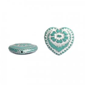 Turquoise & Silver Preciosa Czech Glass Hearts 17mm Pk10