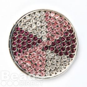 KB Silver Plated Pink/Purple Crystal Coin Disk for Interchangeable Locket 32mm Pk1