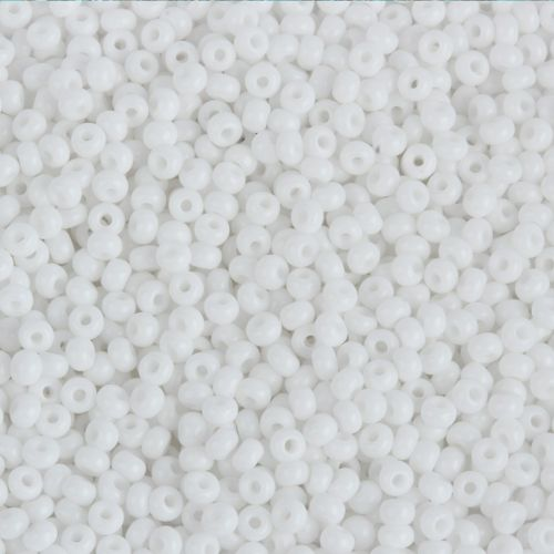 Preciosa Size 8 Round Seed Beads Opaque White 50g