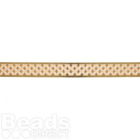 Gold and Peach Optical Leaf Print Fancy Ribbon 15mm Pre Cut 1m Length