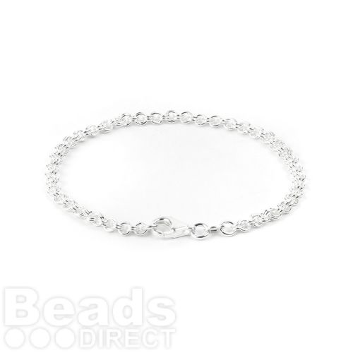 Sterling Silver 925 Double Round Bracelet with Clasp 17.5mm