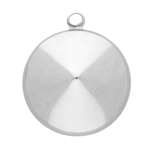 Pendant / rivoli base 12mm / surgical steel / 14x12mm / silver / 2pcs