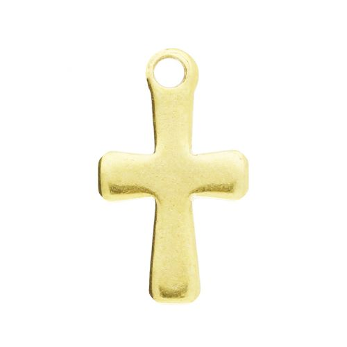 Cross / pendant / surgical steel / 12x7x1mm / gold / 2pcs