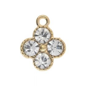 Glamm ™ Spotlight / charm pendant / with zircons / 14x11.5x4mm / gold plated / 2pcs