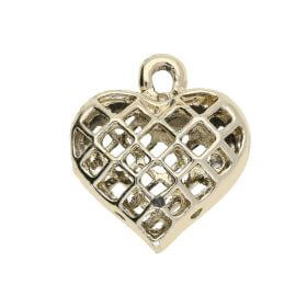 Openwork heart / charm pendant / 21x19x8mm / gold plated / 1pcs