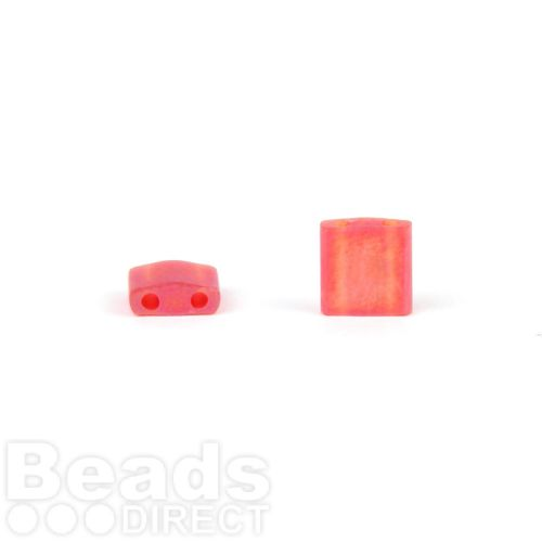 Miyuki Square Tila 5x5mm 2Hole Frosted Rainbow Red 5g
