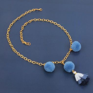 Triple Denim Pom Pom Necklace