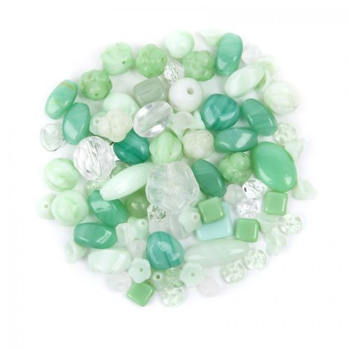 Preciosa Czech Glass Bead Mix 'Mojito' Green & White 50g