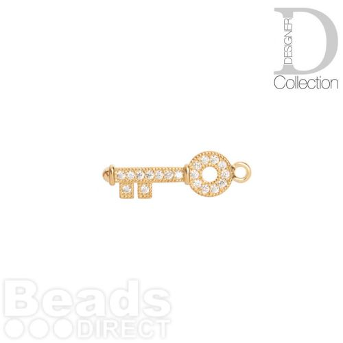 Gold Plated Circle Key Charm Cubic Zirconia 8x22mm Pk1