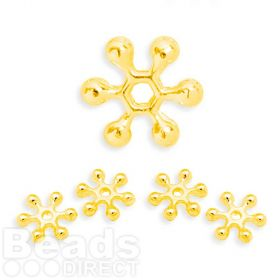 Gold Plated Snowflake Spacer Champagne Bubble Beads 10mm Pk50