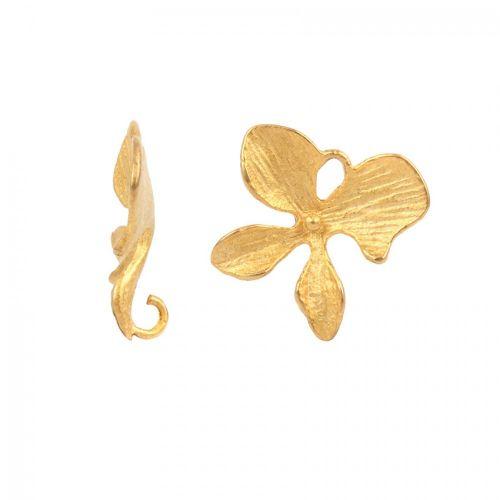 Matt Gold Plated Petal Charm 14mm Pack of 1