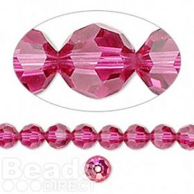 5000 Swarovski Crystal Faceted Rounds 6mm Fuchsia Pk12