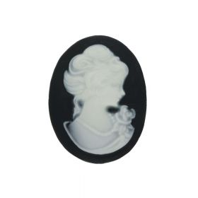 Cameo / cabochon / oval / 13x18mm / black-white / 4pcs