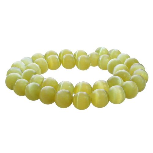 Cat's eye / round / 10mm / beige-olive / 40pcs