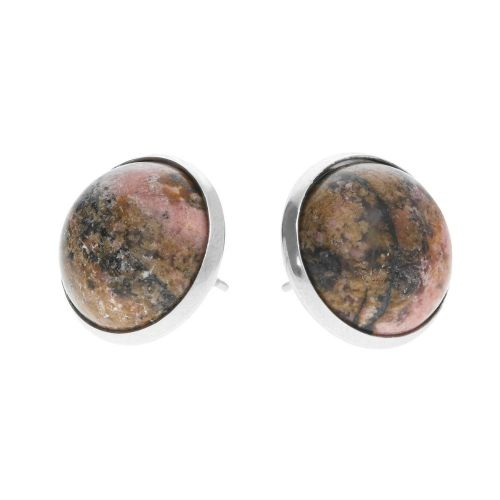 Ear studs / cabochon base 12mm / surgical steel / 13x14x14mm / silver / 2pcs