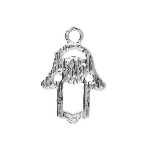 Glamm ™ Fatima hand / charm pendant / with zircons / 20x14x3mm / silver plated / Crystal / 1pcs