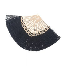 Fan tassel / viscose thread / openwork base / 65mm / black / 1pcs