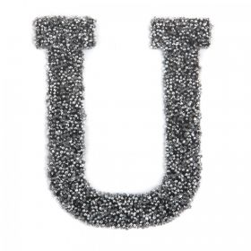 Swarovski Crystal Letter 'U' Self-Adhesive Fabric-It Black CAL Pk1