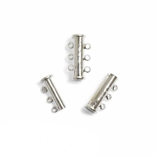 Silver Plated Magnetic Slide Clasp 3-Strand 20x10mm Pk1