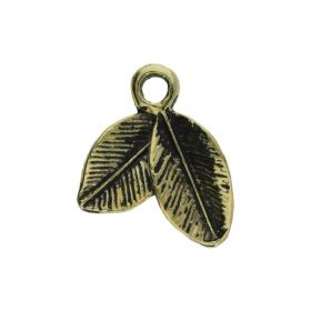 Leaves / charm pendant / 20x15x2mm / antique gold / 2pcs