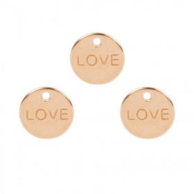 Rose Gold Plated Zamak Small 'Love' Coin Charm 10mm Pk3