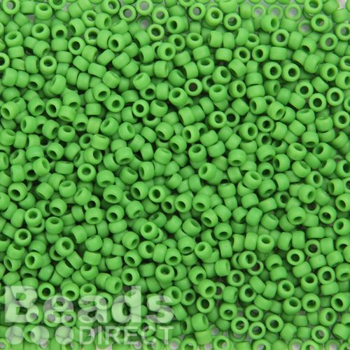 Toho Size 8 Round Seed Beads Opaque-Frosted Mint Green 10g