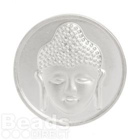 KB Matte Silver Plated 2 Sided Coin Buddha/Flower For Interchangeable Locket 32mm Pk1