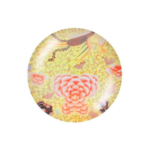 Glass cabochon with graphics K25 PT1355 / yellow / 25mm / 2pcs