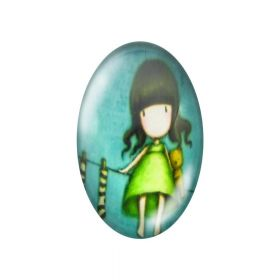Glass cabochon with graphics oval 13x18mm PT1507 / green / 2pcs
