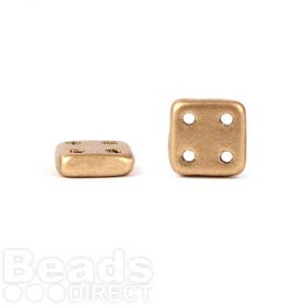 CzechMates QuadraTile 4 Hole 6mm Matte Metallic Gold 10g