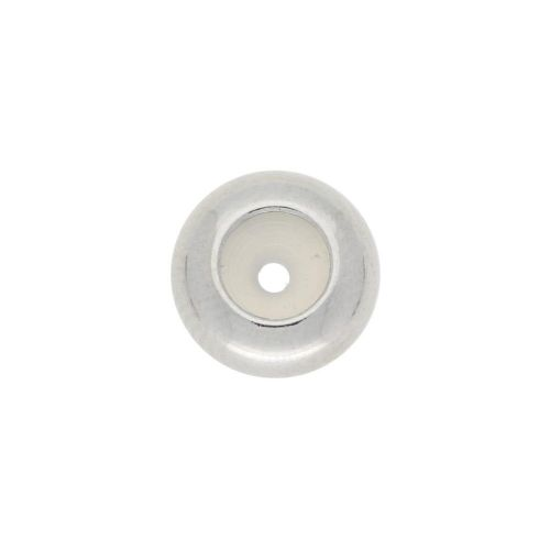Silicone stoppers / surgical steel / 8x4mm / hole 2.5mm / silver / 2pcs